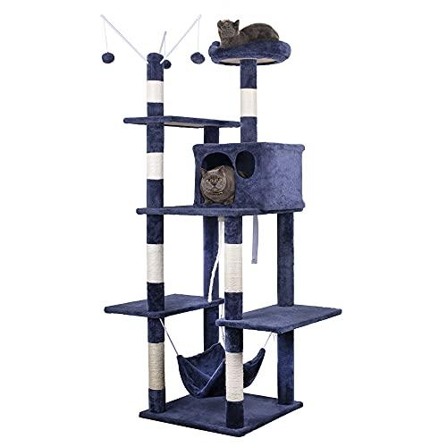 HOMIDEC 160cm Albero Tiragraffi per Gatti Adulti Offerte con Stabile Gatti Tiragraffi, Corda di Sisal Naturale, Amaca, Casetta Grotta e Palla, Design Anti-Caduta per Gatti (blu)