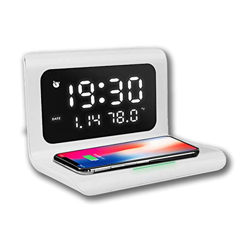 LIDIWEE Wecker Digital mit Qi Ladestation,Ladestation am Krankenbett, drahtloses 10W Qi Ladegerät mit Wecker, kompatibel mit iPhone XS/XS Max, Huawei P30 Pro, Samsung Galaxy S10