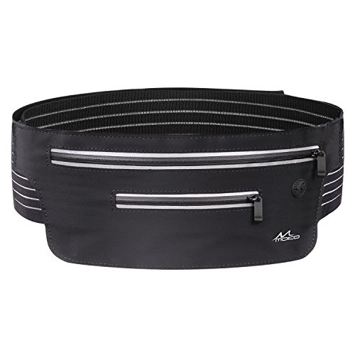 MoKo Running Waist Belt, Outdoor Sports Workout Fitness Fanny Pack for Men Women, Dual Pockets Waist Bag for iPhone 11/11 Pro/11 Pro Max/X/Xs/Xr/8 Plus/8/7 Plus/7, Galaxy Note 10, S20/S10/S9/S8 Plus