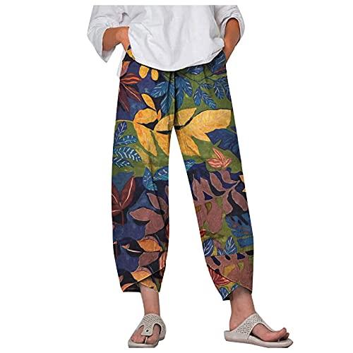 Crop Pantalon, Shorts Mujeres, Flare Pantalones,Pantalones Rotos Mujer,Pantalon Negro Mujer,Pantalones Estampados De Lino De Algodón Para Mujer Pantalones Anchos Sueltos Pantalones De Cintura
