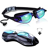 DXK Swimming Goggles, Mirrored Swim Goggles No Leaking Anti Fog UV Protection 180