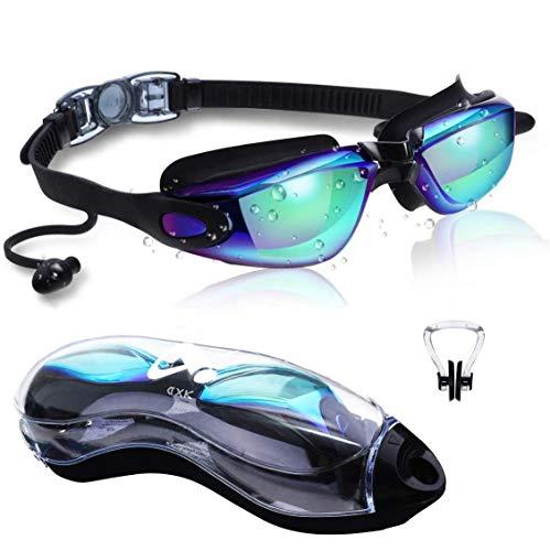 DXK Schwimmbrille, gespiegelte Schwimmbrille Kein Auslaufen Anti-Fog UV-Schutz 180-Grad-Sicht mit freiem Schutzgehäuse und weicher Silikon-Nasenbrücke für Erwachsene Männer Frauen Jugend