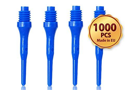 OLYMPOO- 1000 Puntas de Dardos Profesionales de plástico para Diana electrónica - 2 Ba Rosca pequeña - Puntas de Dardos Hechas de plástico (Azul)