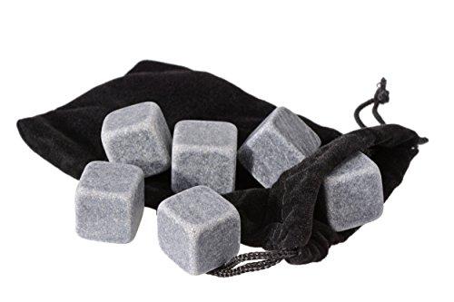 GRÄWE 6 Stück Whisky-Steine Kühlsteine aus Granit inkl. Beutel - 2