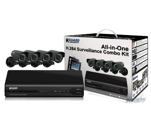 KGUARD All-In-One Surveillance Combo Kit 4 Channel H.264 DVR with 4 CMOS Cameras (OT401-4CW134M-500G)