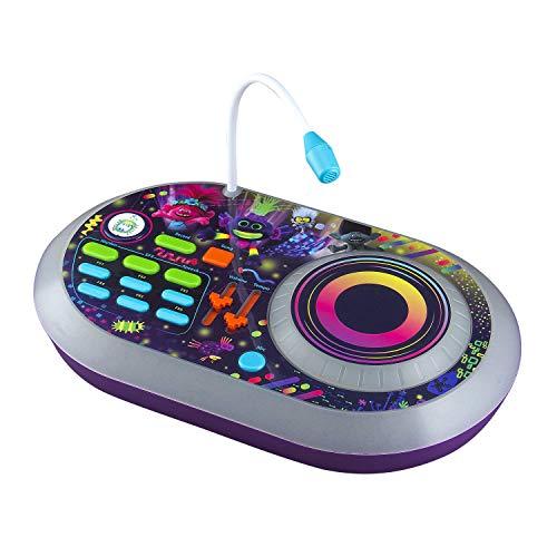 EKids Trolls World Tour DJ Trollex Party Mixer Juguete Giratorio para niños pequeños, micrófono Integrado, grabación, Efectos de Sonido, espectáculo de luz LED