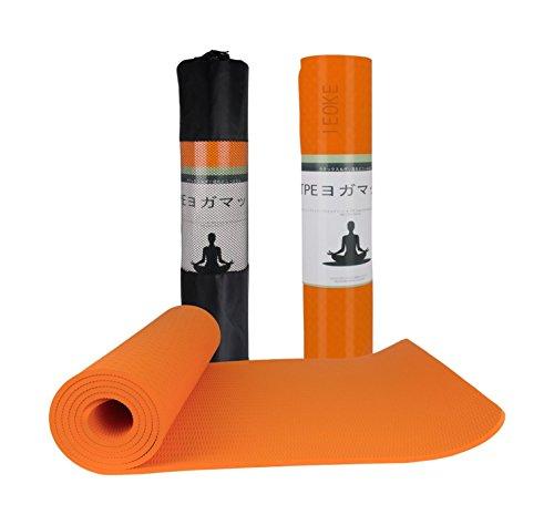 IEOKE ヨガマット TPEエコ素材 6mm 183X61cm ゴム特有のにおいがしない ケース付き (オレンジ)