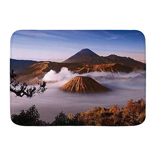 ZOMOY Alfombra de baño,Volcanes del Monte Bromo Tomadas en la Caldera Tengger de Java Oriental, Indonesia,Alfombra de baño Antideslizante de Agua de Alta absorción
