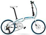 Aoyo 7-Gang Faltrad, Erwachsene Unisex 20' Light Weight Falträder, Aluminium Rahmen Leicht bewegliche Faltbare Fahrrad, Weiß, 5 Speichen, Größe: 5 (Color : White, Size : 5 Spokes)