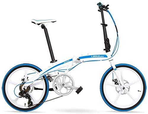 """Aoyo 7-Gang Faltrad, Erwachsene Unisex 20\"""" Light Weight Falträder, Aluminium Rahmen Leicht bewegliche Faltbare Fahrrad, Weiß, 5 Speichen, Größe: 5 (Color : White, Size : 5 Spokes)"""