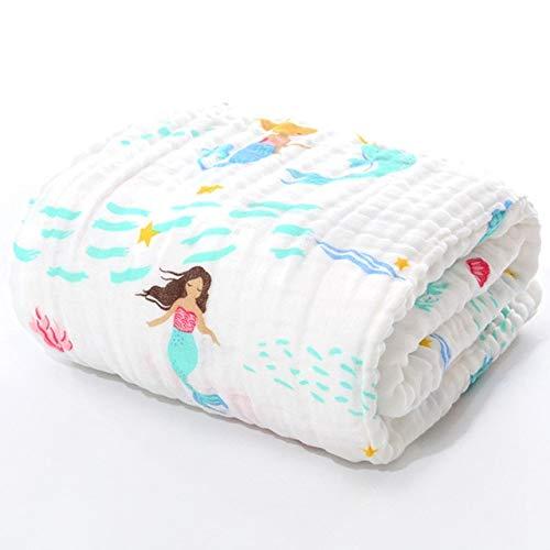 Asciugamano da bagno per bambini Panno di mussola Accappatoio per bambini Coperta per bambino Avvolgere per neonato Bambino Ragazzi Ragazze Garza di cotone 105 * 105 cm - Sirena N12