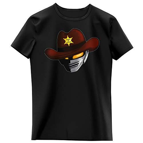 Okiwoki T-Shirt Enfant Fille Noir Parodie X-Or Le Shériff de l'espace - X-Or - Gavan - Le Shériff de l'espace. (T-Shirt Enfant de qualité Premium de Taille 13-14 Ans - imprimé en France)