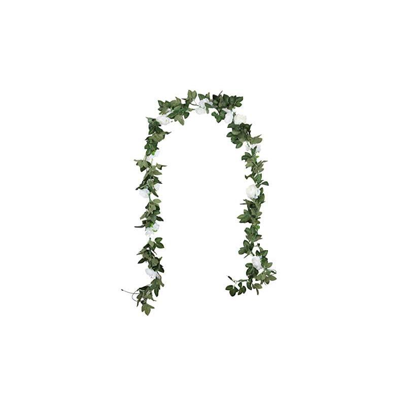 silk flower arrangements duovlo 8.2ft artificial peony flower garland hanging greenery vine silk floral vine home wedding arch wall craft arrangement decorations,pack of 2 (white)