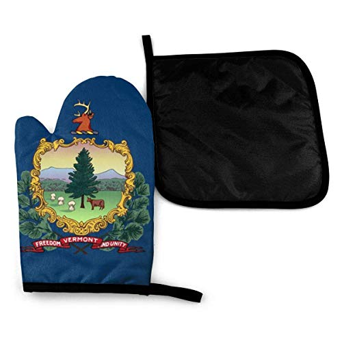 Bandera del estado de Vermont, manoplas para horno de microondas y porta ollas, juego de cubierta, manta con aislamiento térmico, almohadilla, mitones, guante, hornear, pizza, barbacoa, barbacoa
