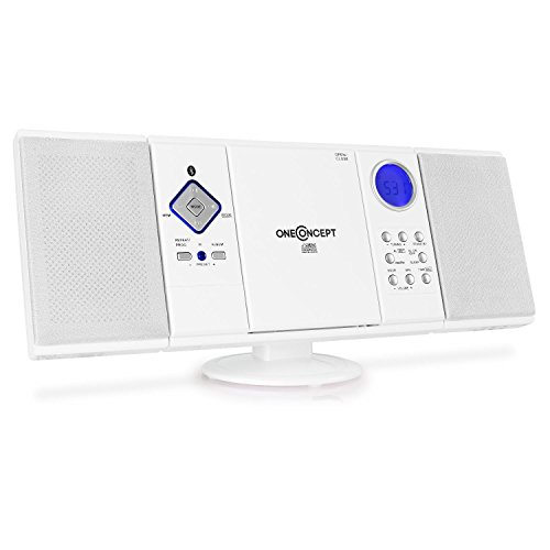 OneConcept V-12-BT - Bluetooth Stereoanlage, Kompaktanlage mit Integriertem UKW-Receiver, CD-Player, USB-Port, SD-Slot und AUX-Eingang, Weckfunktion, programmierbar, inkl. Fernbedienung, weiß