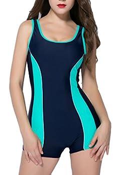 BeautyIn swimsuits for women one piece full swimsuits for women boyleg swimsuit  Mint Green  10 / Tag size 44
