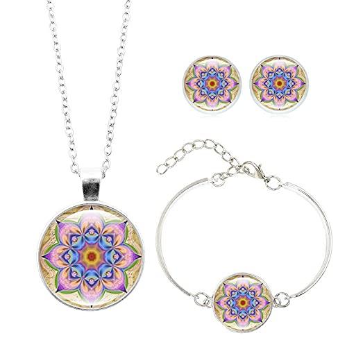 Mandala Flor Conjuntos De Joyas Colgante Collar Pulsera Pendientes Conjuntos Cabujón De Cristal Budismo Religioso Longitud De La Joyería: 45 + 5Cm