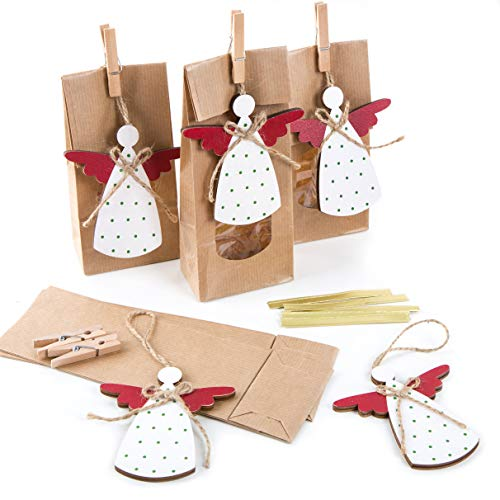 Logboek-uitgeverij geschenktasjes met venster + engelhanger - verpakking geschenken bonbonbons, koekjes Kerstmis 5 Stück braun mit Engel weiß