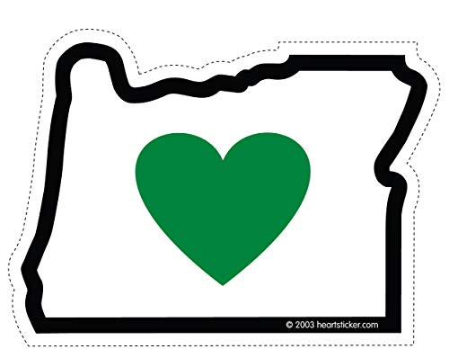 Heart in Oregon Sticker 3.5 Inch | OR State Shaped Label| Apply to Mug Phone Laptop Water Bottle Decal Cooler Bumper | Green Heart Portland Ducks Beavers 503 Tree Stag Home Love Mt Hood PNW PCT