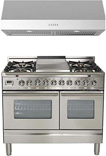 Ilve 2 Piece Kitchen Appliances Package with UPDW100FDMPI 40' Dual Fuel Gas Range and Forte LUCCA40 40' Under Cabinet Convertible Hood in Stainless Steel - Made in Italy