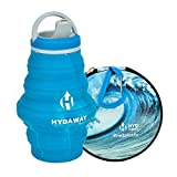 HYDAWAY Hydration Travel Pack | 17 oz Collapsible Water Bottle with Spout Lid and Compact Travel Case with Carry Clip (Ocean Wave)