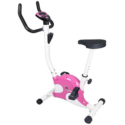 NXLWXN F-Bike Estática Mano, Bicicleta Fitness con Consola Y Sensores De Pulso En Manillar, Plegable,Rosado
