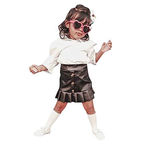Kleinkind Baby Mädchen Mode Streifen T Shirt Tops + Engen Rüschen Rock Outfits