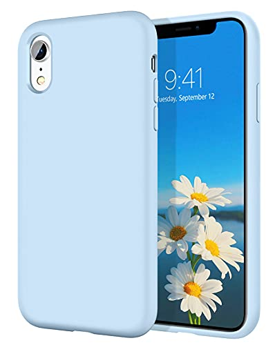 iPhone XR Cases, iPhone XR Case DOMAVER Slim Lightweight Smooth Liquid Silicone Soft Gel Rubber Microfiber Lining Cushion Texture Cover Shockproof Protective Phone Cases for iPhone 10 XR, Light Blue