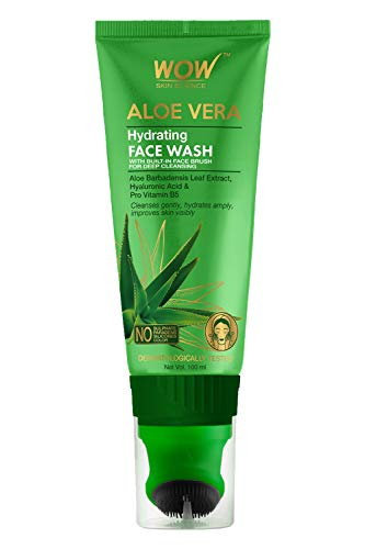 WOW Skin Science Aloe Vera with Hyaluronic Acid and Pro Vitamin B5 Hydrating Gentle Face Wash Gel with Built-In Face Brush for Gentle Cleansing - No Parabens, Silicones & Color - Tube, 100 ml