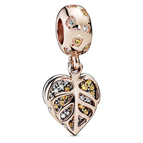 Leaves Pandora Rose and sterling silver dangle with clear and honey cubic zirconia
