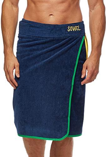 Sowel® Saunakilt Herren, 100% Bio-Baumwolle, Saunahandtuch mit Klettverschluss, Saunatuch, 60 x 140 cm, Navy/Grün