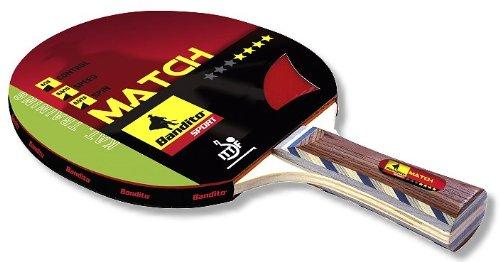 Bandito Sport Tischtennis-Schläger Trainingsschläger Match **** Star, der ideale Trainingsschläger, Griff Concave ITTF zugelassen, mit 6 mm Furnierholz und 1,8 mm Schwamm