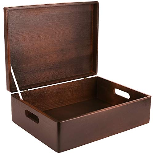 Creative Deco XL Braun Große Holzkiste Aufbewahrungsbox Spielzeug | 40 x 30 x 14 cm | Mit Deckel zum Dekorieren Aufbewahren | Mit Griff | Perfekt für Dokumente, Wertsachen und Werkzeuge