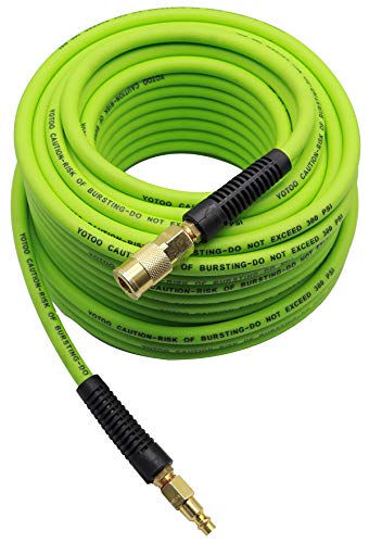 YOTOO Hybrid Air Hose 1/4-Inch by 100-Feet 300 PSI Heavy Duty, Lightweight, Kink Resistant, All-Weather Flexibility with 1/4-Inch Industrial Quick Coupler Fittings, Bend Restrictors, Green