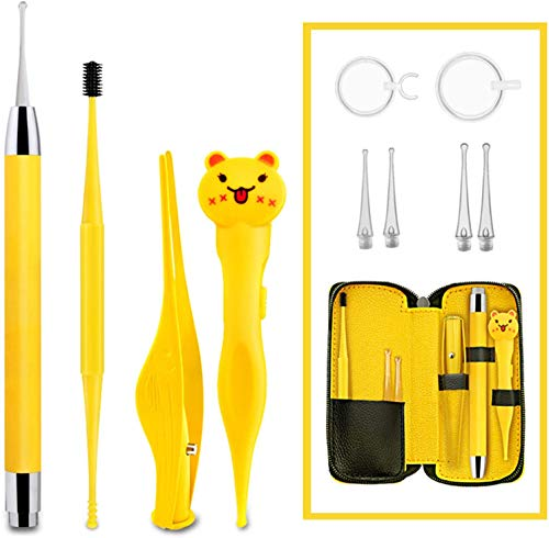 Ear Wax Removal Tool Ear Cleaner 12 Pack Earwax Removal Kit Ear Pick with Light Ear Spoon Ear Wax Remover Set Ear Cleaning Kits for Adult Kid Earpick Ear Wax Tweezer Ear Wax Removal Ear Cleaning Tool
