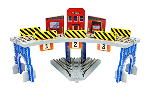 Z MAYABBO Wooden Train Accessories Wood Railway Bridge with 3-Way Track Train Garage, 2-Level Train Station and Train Tunnel, Compatible for All Major Brands Railroad Tracks System.