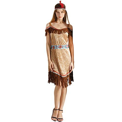 EraSpooky Damen Indianer Amerikanischer Ureinwohner Kostüm Sexy Faschingskostüme Cosplay - Halloween Party Karneval Fastnacht Kleidung für Erwachsene
