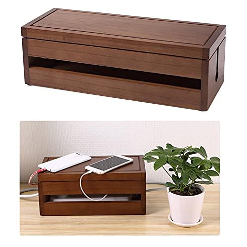 PPuujia Caja de almacenamiento de cables con tira de alimentación, cargador de polvo, organizador de enchufe de red y cable de gestión de cables (color café)