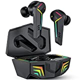 Wireless Earbuds, KINGSTAR Headphones Wireless Bluetooth Earbuds with Microphone, Low Latency Gaming Earphones Open Case Pairing IPX5 Deep Bass True Wireless TWS Earbuds for Android iOS (Black)