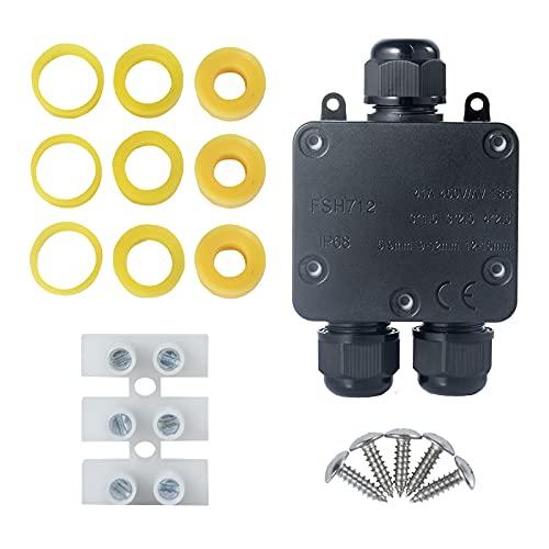 Scatola di Derivazione, Connettore per Cavo Esterno a 3 Lie Scatola di Giunzione Stagna IP68 Scatola di Giunzione Elettrica per Cavi di Diametro 5-15 mm (1 Pack)