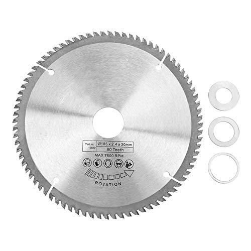 Hoja de sierra circular TCT de 80 dientes 185 mm Hoja de sierra circular de corte de madera de aleación dura de plata con 3 piezas Anillos de reducción Hoja de sierra circular de corte de madera