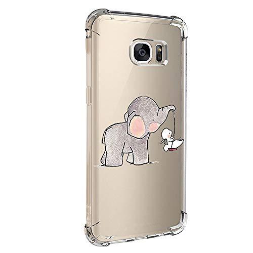 Jeack Hülle kompatibel mit Samsung Galaxy S7 hülle, Floral Motiv Handyhülle Slim Silikon Case Cover Schutzhülle Dünn Durchsichtig Handy-Tasche Back Cover Transparent Bumper für Galaxy S7 (7)