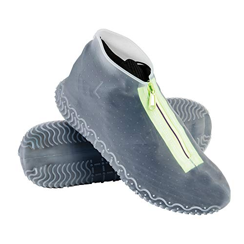 Couvre-chaussures imperméable avec fermeture éclair,Convient aux Jours de Pluie et de Nneige,Étanche Couvre-Chaussures Silicone Cover Shoes Réutilisable Pliable (XL (43-47), Transparent)