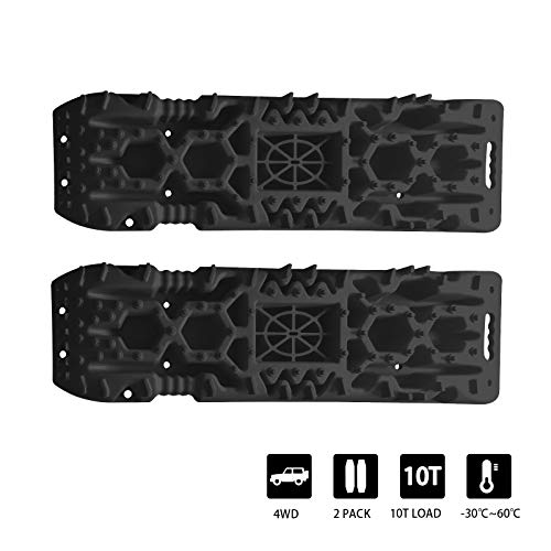 OPENROAD 10T Traction Boards for Off-Road Truck, Cars, Sand, Snow, Mud, 4X4 Recovery Traction Mats for Tire Traction Track Tool&Vehicle Extraction with Safety Reflective Stickers,2 Pcs, Black