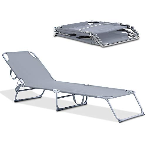 LIVIVO Foldable Sun Lounger with Adjustable Back and Leg Rests – Relax in Comfort and Style – Folding Lightweight Frame (Grey)