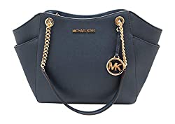 small Michael Kors Jet Set Travel Large Chain Shoulder Bag Navy Leather