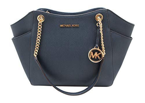 "Size Approximate Measurements: 12"" L x 10"" H x 5"" D Saffiano Leather, Color: Navy Blue Zip Top Closure, Hanging MK Medallion Dual Flat Chain Handles with 10"" Drop Interior Zip and 2 Slip Pockets, 2 Exterior Side Slip Pockets, imported, NO Dust Bag in..."