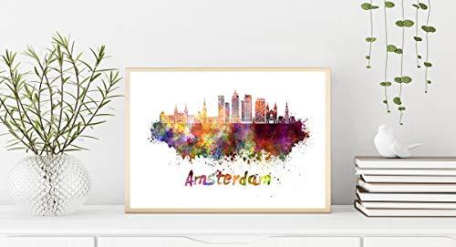 Amsterdam V2 Skyline en Acuarela Papel Fotográfico DIN A4