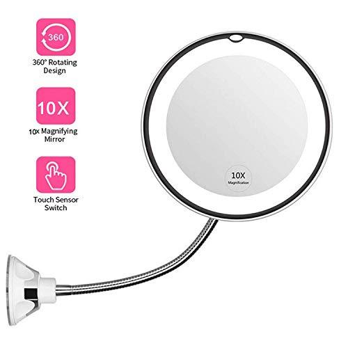 MEYOU Kosmetikspiegel LED Beleuchtet mit 10x Vergrößerung Schminkspiegel Rasierspiegel mit Verstellbarem Schwanenhals und Saugnapf Schminkspiegel Set 360-Grad-Winkeleinstellung