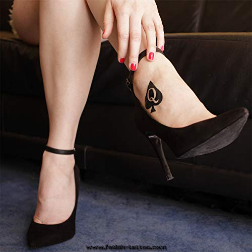 15 x Big Queen of Spades Tattoo in black - temporary Tattoo - Hotwife Tattoo - BBC (15)